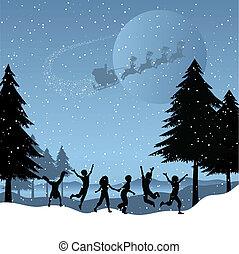 kinderen spelende, met, kerstman, in, de, hemel