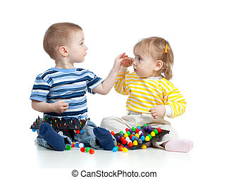 kinderen spelende, met, mozaïek, speelbal