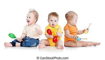 kinderen spelende, met, muzikalisch, speelgoed