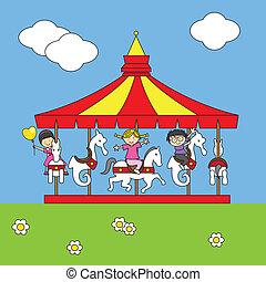 kinderen spelende, op, de, draaimolen