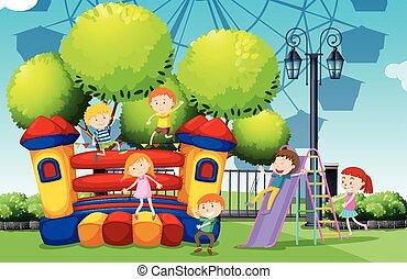 kinderen spelende, op, de, park