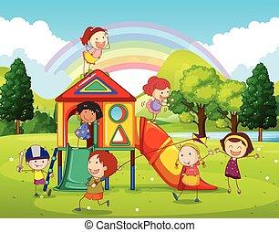 kinderen spelende, op, de, speelplaats, in het park