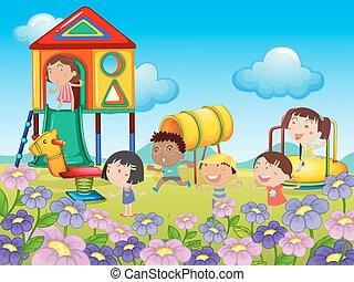 kinderen spelende, op, speelplaats