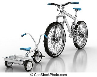 kinderen, sportende, fiets, tegen