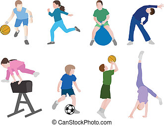 kinderen, sportende, illustratie
