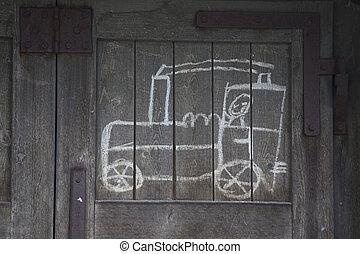 kinderen, tekening, van, een, trein