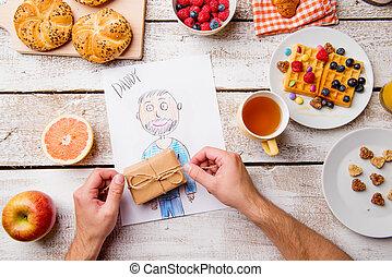 kinderen, tekening, van, haar, dad., vaders, day., ontbijt,...