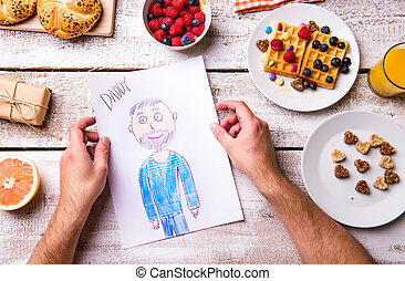 kinderen, tekening, van, haar, dad., vaders, day., ontbijt, maaltijd.