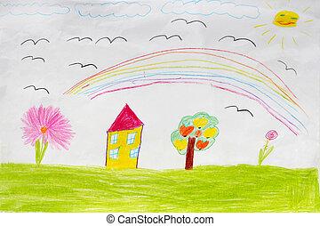 kinderen, tekening, van, huisen, en, regenboog