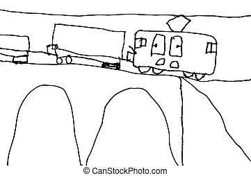 kinderen, tekening, van, trein