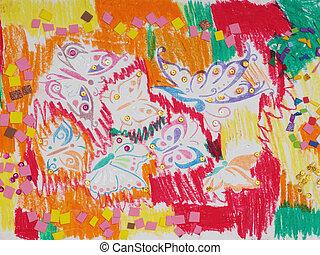 kinderen, tekening, veelkleurig, vlinder