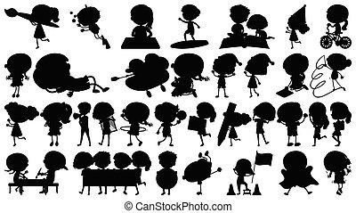 kinderen, thema, sihouette, -, vrijstaand, voorwerpen, set, acties