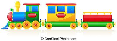 kinderen, trein, illustratie