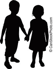 kinderen, twee, silhouette