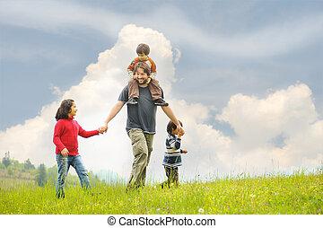 kinderen, vader, geluk, samen