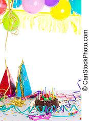 kinderen, verjaardagsfeest, met, de cake van de chocolade