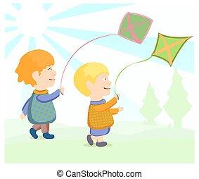 kinderen, vliegende kite