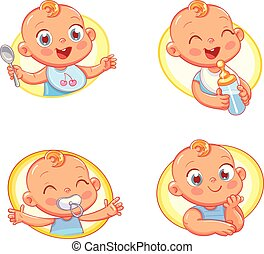 kinderen voedsel, kinderen, hygiëne, ontwerp, mal, baby, producten, winkel