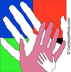 kinderen, volwassene, samen, handen