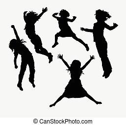 kinderen, vrolijke , activiteit, silhouette