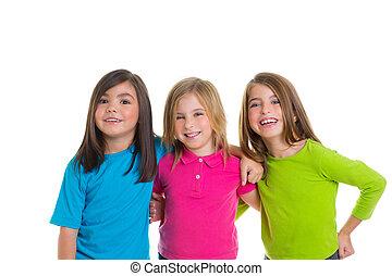 kinderen, vrolijke , meiden, groep, het glimlachen, samen