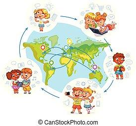 kinderen, werk op elkaar in, met, elkaar, op, sociaal, netten, rond de wereld