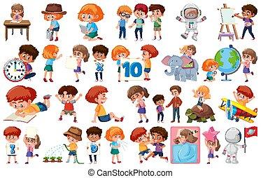 kinderen, witte , groot, anders, achtergrond, set, activiteiten