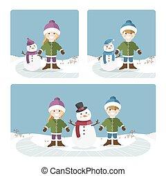 kinderen, zonnig, winter, dag, spelend