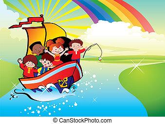 kinderen, zwevend, door, een, boat.