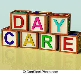 kindergarden, gosses, blocs, bois, symbole, orthographe, jour, préscolaire, soin