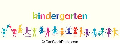 Kindergarten banner with colored kids