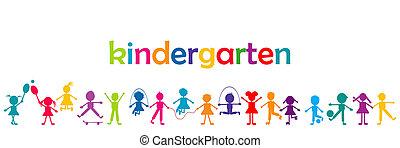 Kindergarten banner with colored kids