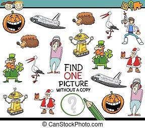 kindergarten, bild, aufgabe, finden, eins