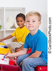 kindergarten boys in classroom
