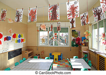 kindergarten classroom of children with many drawings of...
