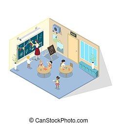 Kindergarten classroom. Preschool children sitting at the table