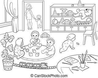 Kindergarten coloring book for children cartoon vector...