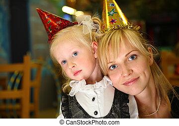 kindergarten, feiertag, töchterchen, mutter