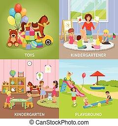 Kindergarten Flat Design Concept