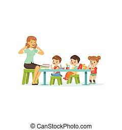kindergarten, gruppe, von, wenig, kinder, knaben, und, m�dchen, machen, übungen, für, entwicklung, von, vortrag halten , mit, frau, therapist., wohnung, design, charaktere