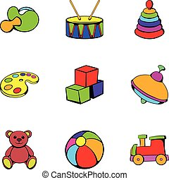 Kindergarten icons set, cartoon style
