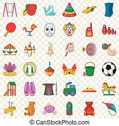 Kindergarten icons set, cartoon style