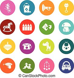 Kindergarten icons set colorful circles vector