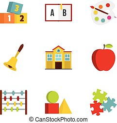 Kindergarten icons set, flat style