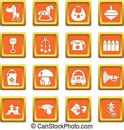 Kindergarten icons set orange square vector
