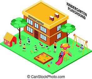 Kindergarten Isometric Composition