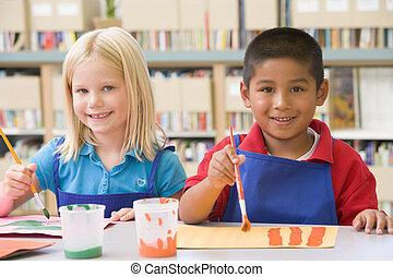 kindergarten, kinder, gemälde