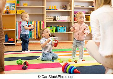 kindergarten, kinder, spielen, lehrer