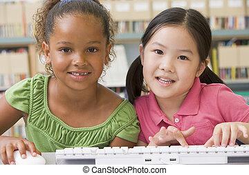 kindergarten, kinder, verwenden computers