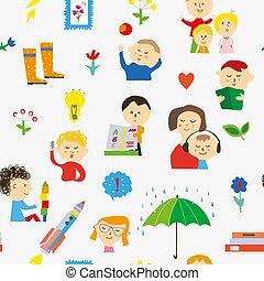 Kindergarten seamless pattern illustration